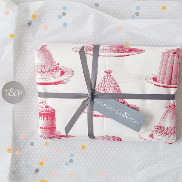 Pink Jelly and Cake screenprinted kitchen gift set